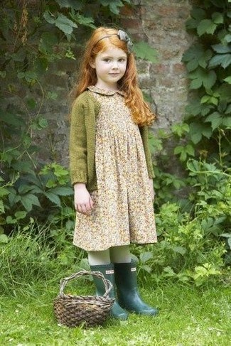 How to wear: grey headband, dark green rain boots, beige floral dress, olive cardigan