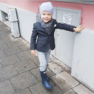 How to Wear a Grey Beanie For Boys: Dress your boy in a charcoal blazer and a grey beanie for a comfy outfit. Finish this style with navy rain boots.