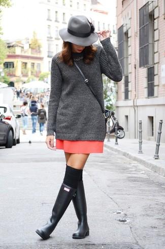 How to wear: black knee high socks, black rain boots, red mini skirt, charcoal knit tunic
