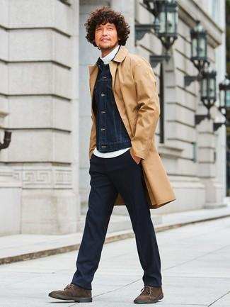 How to wear: tan raincoat, black denim jacket, white turtleneck, black dress pants