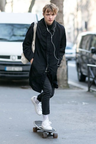 How to wear: black raincoat, black turtleneck, charcoal wool dress pants, white leather low top sneakers