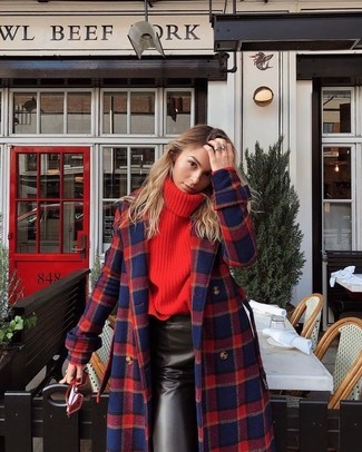 A red and navy plaid coat and Ralph Lauren Cat Eye Spectator Sunglasses are a great outfit formula to have in your arsenal. When it comes to dressing for weird transition weather, nothing beats a cool getup that will keep you snug and looking your best.