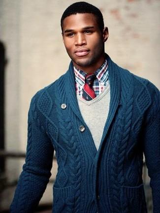 Buttoned Shawl Collar Cardigan Navy