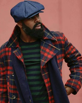 How to wear: red and navy plaid pea coat, navy and green horizontal striped crew-neck sweater, navy flat cap, navy scarf