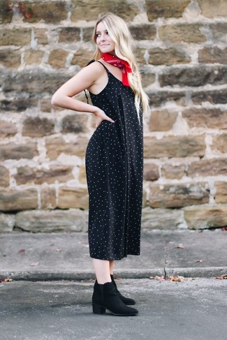 How to wear: red bandana, black suede ankle boots, black polka dot jumpsuit