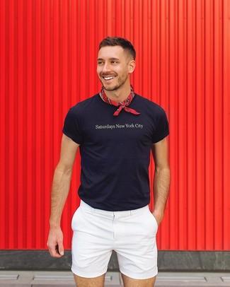 How to wear: red bandana, white shorts, navy print crew-neck t-shirt