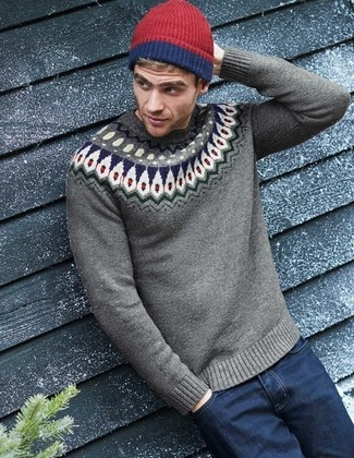 How to wear: red beanie, navy jeans, grey fair isle crew-neck sweater