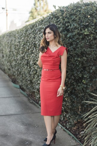 How to wear: gold watch, red leather belt, black leather pumps, red sheath dress