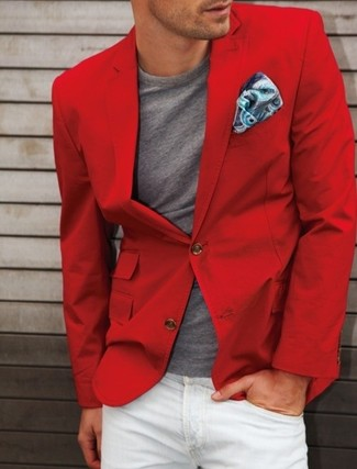 How to wear: red cotton blazer, grey crew-neck t-shirt, white jeans, blue paisley silk pocket square