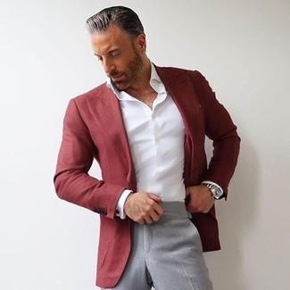 How to wear: red blazer, white dress shirt, grey dress pants, silver watch