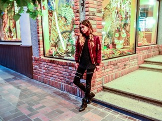 Women's Red Bomber Jacket, Black Fluffy Crew-neck Sweater, Black Leather Leggings, Black Leather Lace-up Flat Boots