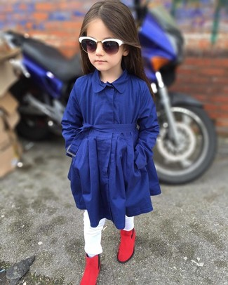 How to wear: white sunglasses, red boots, white jeans, navy trench coat