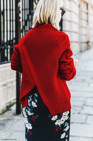 How to wear: red cable sweater, black floral pencil skirt