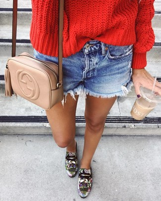 How to wear: red cable sweater, blue denim shorts, multi colored print leather loafers, tan leather crossbody bag