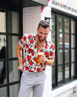 How to wear: red canvas watch, grey chinos, white floral short sleeve shirt