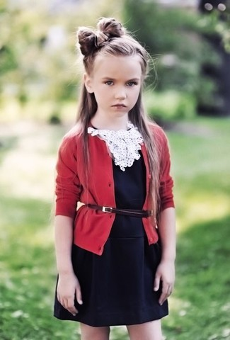 How to wear: red cardigan, black dress