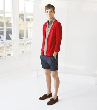How to wear: red cardigan, grey polo, navy vertical striped shorts, dark brown suede tassel loafers