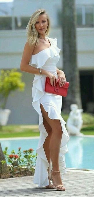 How to wear: gold bracelet, red leather clutch, beige suede heeled sandals, white ruffle off shoulder dress