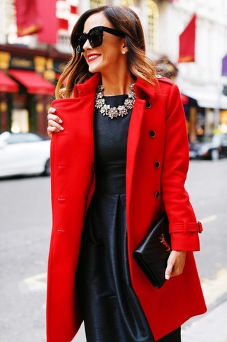 How to wear: red coat, black satin fit and flare dress, black leather clutch, clear necklace