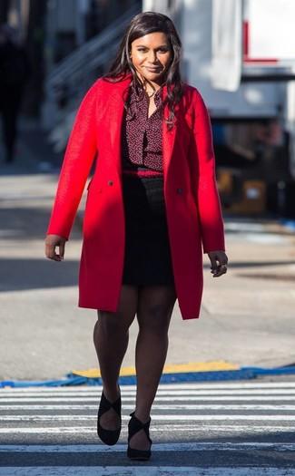 How to wear: red coat, burgundy dress shirt, black mini skirt, black suede pumps