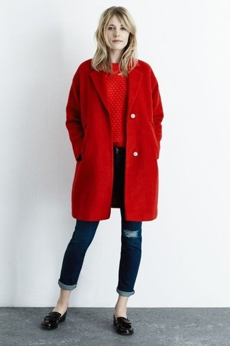 How to wear: red coat, red cable sweater, navy ripped skinny jeans, black leather loafers