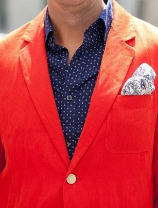 How to wear: red cotton blazer, navy polka dot long sleeve shirt, white and navy paisley pocket square