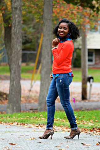 How to wear: red crew-neck sweater, blue plaid dress shirt, blue jeans, tan leopard suede pumps