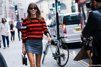 Alexa Chung wearing Red Horizontal Striped Crew-neck Sweater, Grey Mini Skirt, Black Leather Handbag, Black Sunglasses
