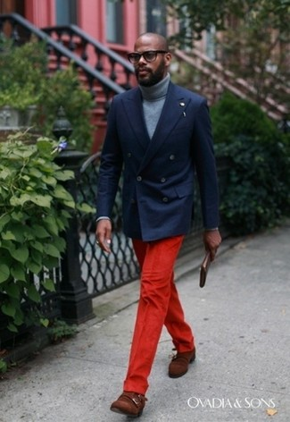 How to wear: brown suede double monks, red dress pants, grey turtleneck, navy double breasted blazer