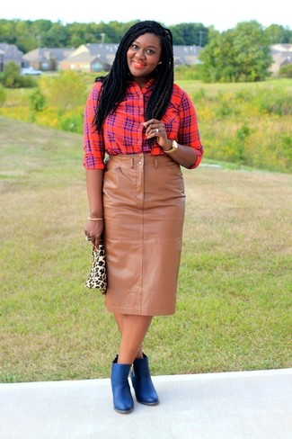 How to wear: red plaid dress shirt, tan leather pencil skirt, blue leather ankle boots, beige leopard suede clutch