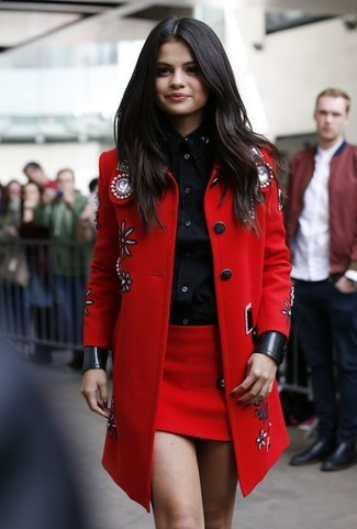 Selena Gomez wearing Red Embellished Coat, Black Dress Shirt, Red Mini Skirt
