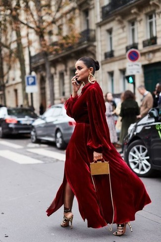 How to wear: red velvet evening dress, multi colored suede heeled sandals, tan leather crossbody bag, gold earrings