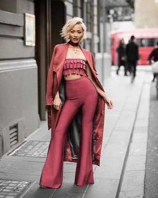 How to wear: burgundy choker, red flare pants, red cropped top, red trenchcoat