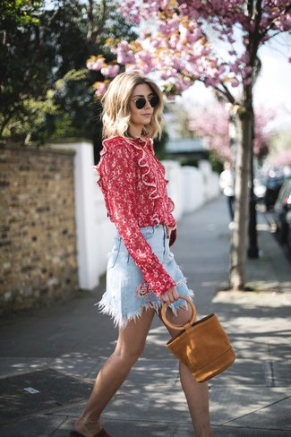 How to wear: tobacco suede tote bag, red suede flat sandals, light blue denim mini skirt, red print long sleeve blouse