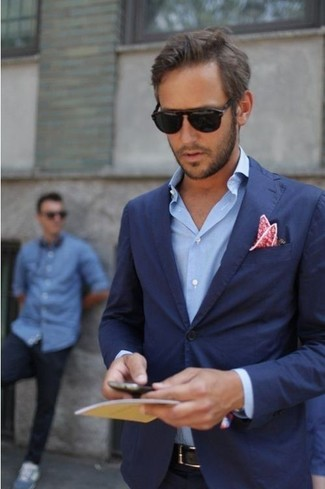 How to wear: red floral pocket square, blue long sleeve shirt, navy blazer