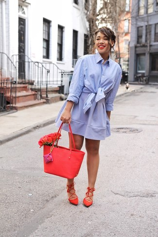 How to wear: red leather tote bag, red suede gladiator sandals, light blue skater skirt, light blue dress shirt