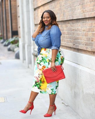 How to wear: red leather clutch, red leather heeled sandals, multi colored floral pencil skirt, blue denim shirt