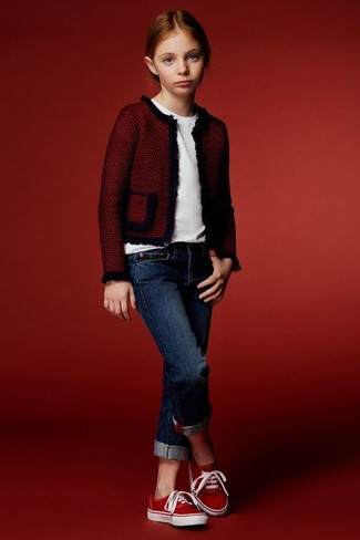 How to wear: red jacket, white t-shirt, navy jeans, red sneakers
