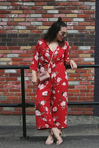 How to wear: red floral jumpsuit, pink leather heeled sandals, pink leather crossbody bag, black sunglasses