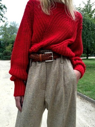Women's Red Knit Oversized Sweater, Grey Wool Culottes, Brown ...