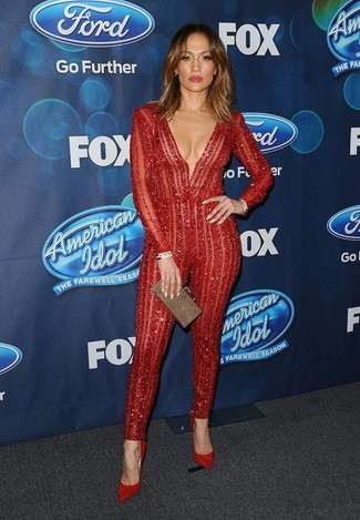 Jennifer Lopez wearing Red Lace Jumpsuit, Red Suede Pumps, Brown Clutch