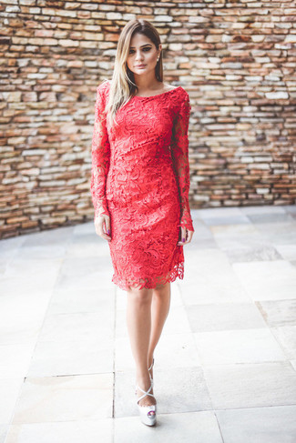 Red lace sheath dress silver leather heeled sandals large 3045