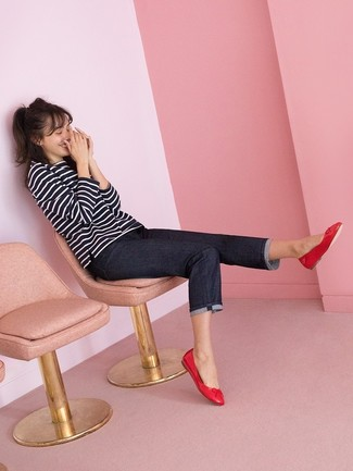 How to wear: red leather ballerina shoes, navy jeans, black and white horizontal striped long sleeve t-shirt