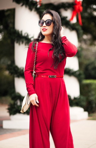 How to wear: red leather belt, white leather crossbody bag, red jumpsuit