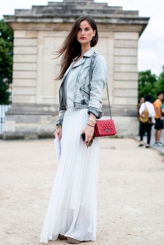 How to wear: red quilted leather crossbody bag, white pleated chiffon maxi skirt, light blue denim jacket