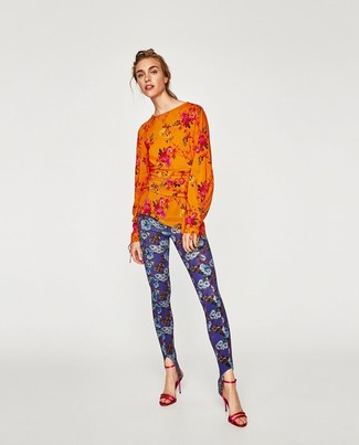 How to wear: red leather heeled sandals, blue floral leggings, orange floral long sleeve blouse