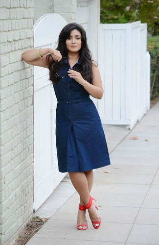 How to wear: red leather heeled sandals, navy shirtdress