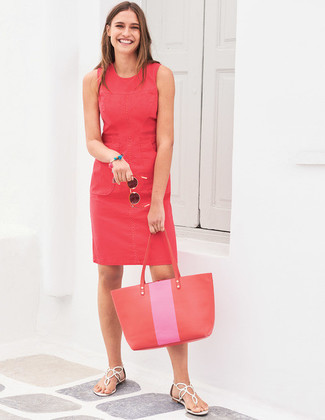 How to Wear a Red Sheath Dress: Choose a red sheath dress and you'll look chic anywhere anytime. Not sure how to finish off? Add white leather thong sandals to this look to switch things up.