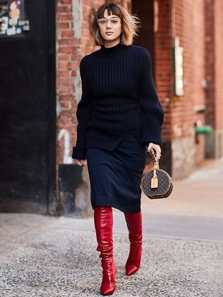 How to wear: dark brown print leather clutch, red leather over the knee boots, black pencil skirt, black knit turtleneck
