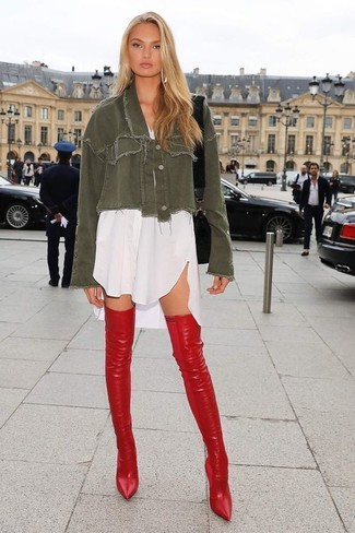 How to wear: black leather crossbody bag, red leather over the knee boots, white shirtdress, olive denim jacket